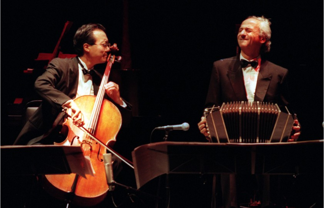 The music of Astor Piazzolla is performed by cellist Yo–Yo Ma and Nestor Marconi, on the bandoneón, at the Wiltern on Dec. 5, 1997.(Lawrence K. Ho / Los Angeles Times)