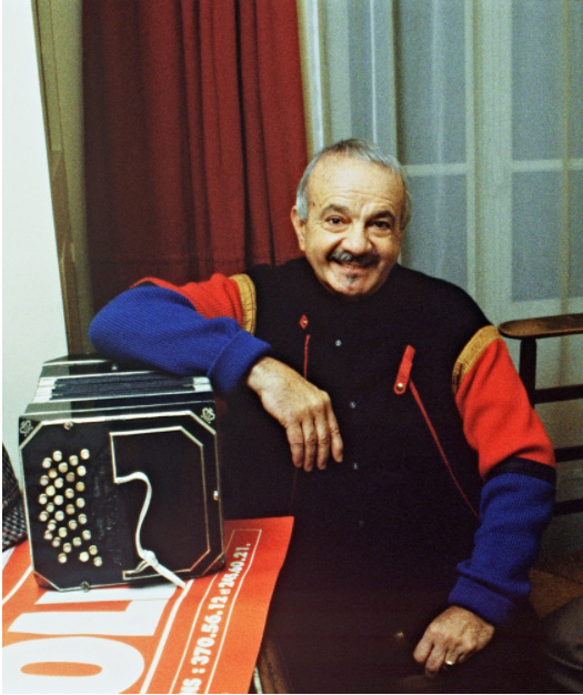 Composer and musician Astor Piazzolla at age 63 in Paris on March 25,1985.(Jean-Loup Gautreau / AFP via Getty Images)